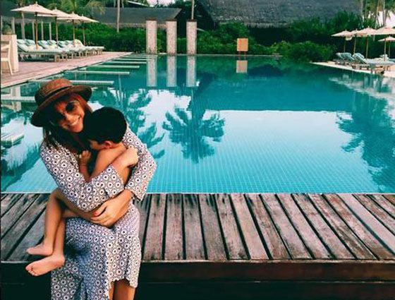 Анастасия Стоцкая с сыном на Мальдивах