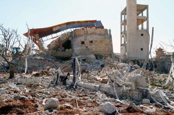 Разрушенная больница «Врачей без границ» в Сирии
