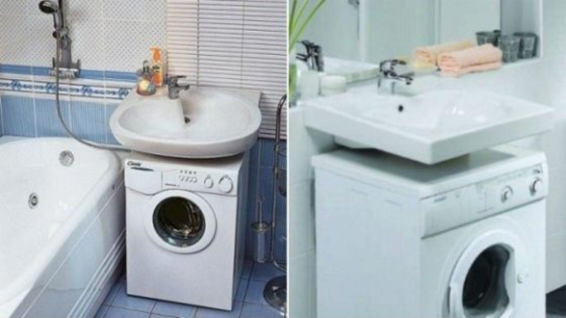 В маленькой квартире можно установить стиральную машину под раковину