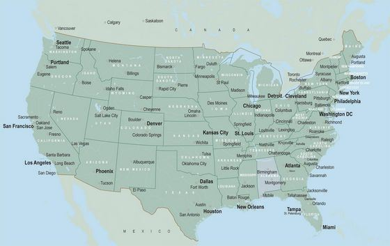 США занимают внушительную площадь