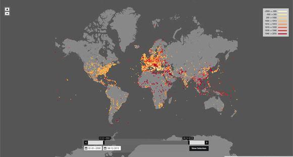 Карта Nodegoat позволяет оценить масштаб войн в истории планеты