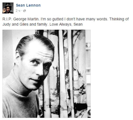 Шон Леннон выразил свои соболезнования по поводу утраты