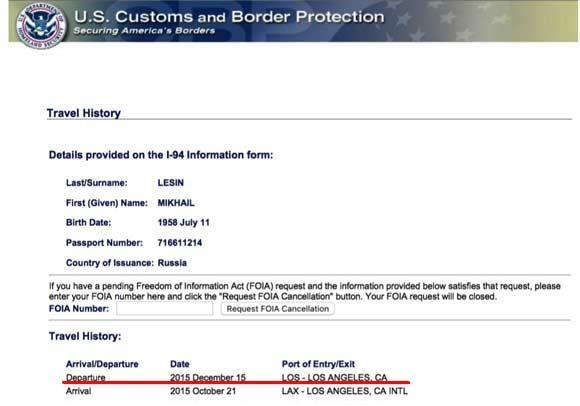 Справка от американских чиновников подтверждает факт выезда Лесина из США после смерти