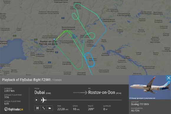 Boeing 737 кружил рядом с Ростовом-на-Дону перед неудачной попыткой приземлиться