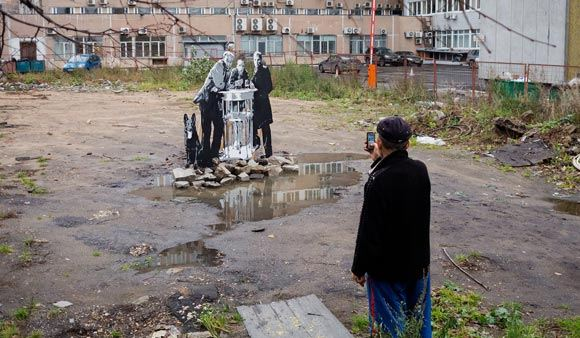 """In Moscow, burned street installation with the heroes of """"Stalker"""""""