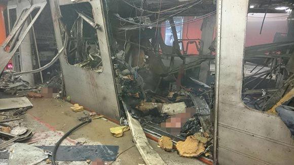 Место взрыва в метро Брюсселя, 22 марта 2016 года