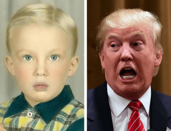 Дональд Трамп в детстве и сейчас