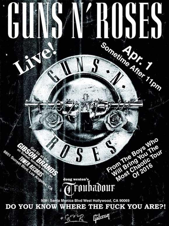 Афиша концерта Guns N» Roses в клубе Troubadour