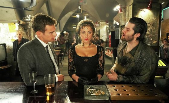 Frame from the film «London fields» with Theo James and Amber Heard
