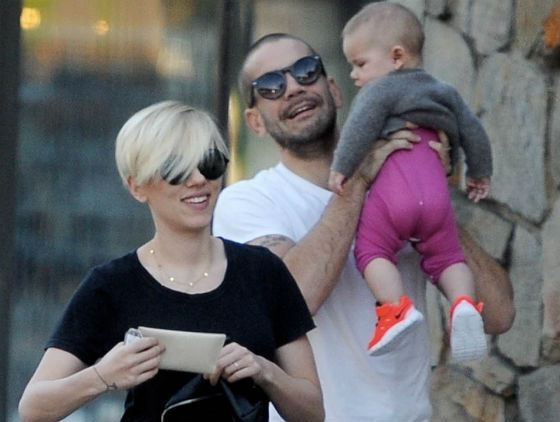 Scarlett Johansson with her husband and child