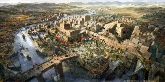 Графическая реконструкция шумерского города