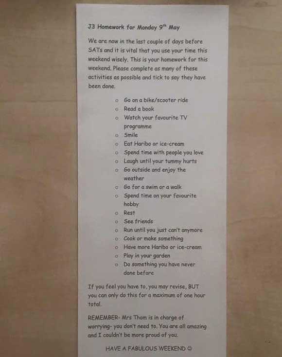 Британская учительница миссис Том составила для детей список «заданий»