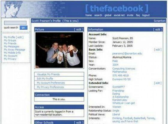 Первый дизайн Facebook (2004 год)