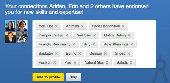 Забавные навыки пользователей LinkedIn