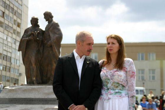 Governor Sergey Morozov and his wife Elena
