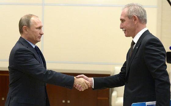 Sergey Morozov and Vladimir Putin