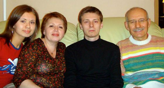 Rustem Khamitov with his wife and children