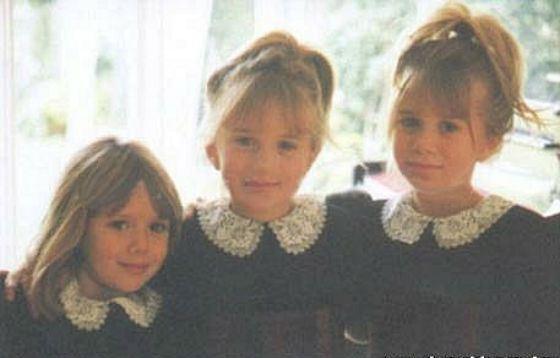Элизабет Олсен в детстве (слева) с сестрами