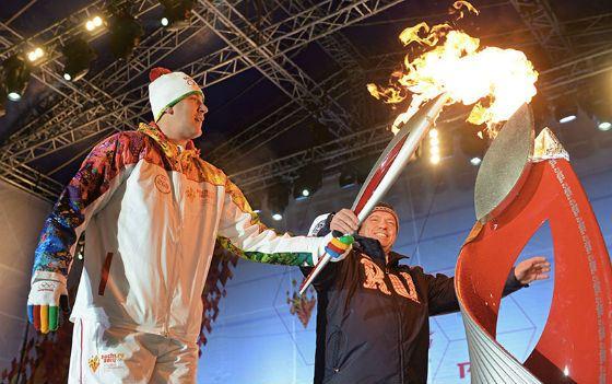 Vasily Golubev lights the Olympic flame in Rostov-on-Don
