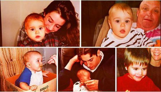 Young Justin Bieber with mother