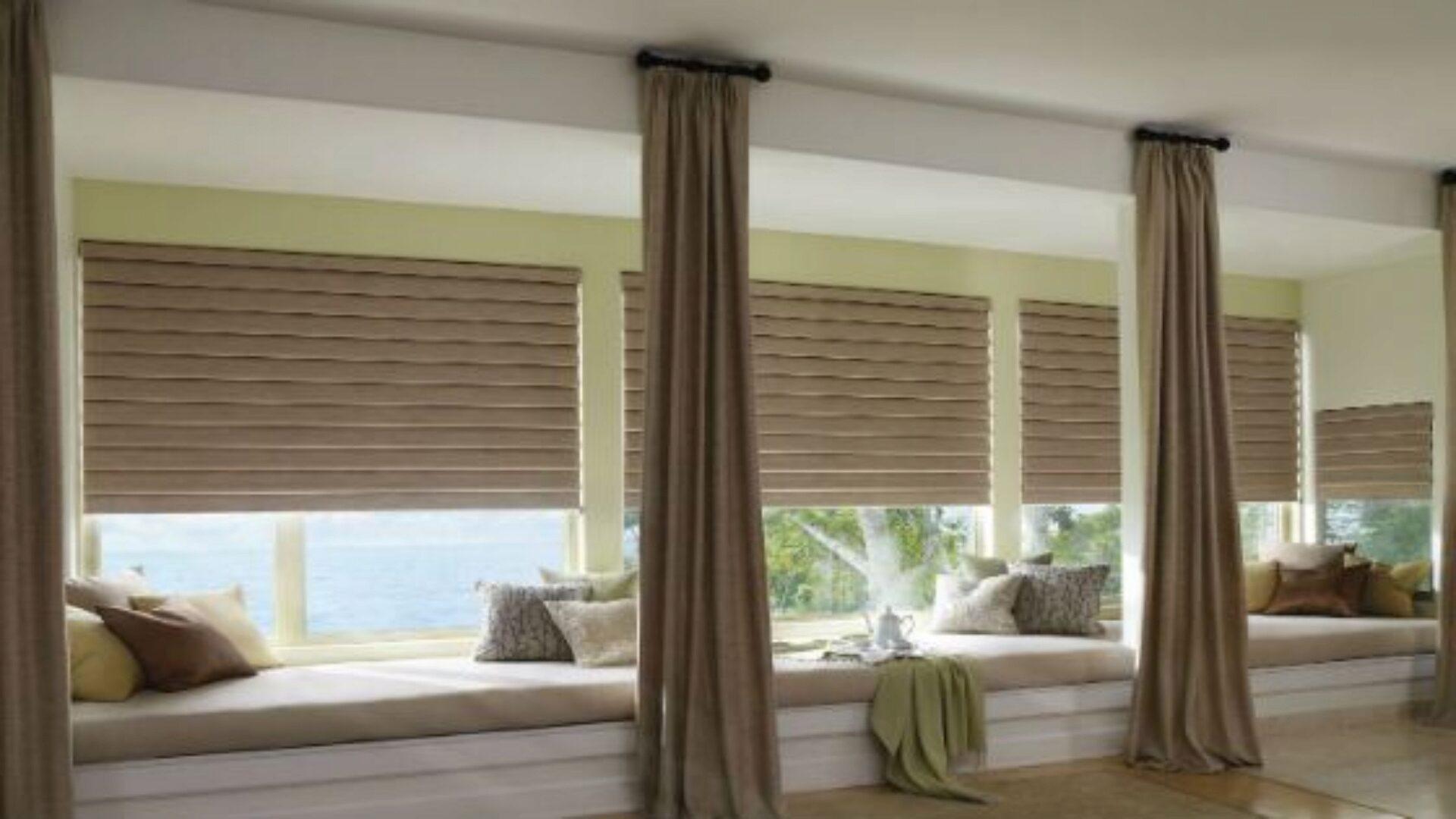 Жалюзи и шторы зрительно увеличивают низкие окна