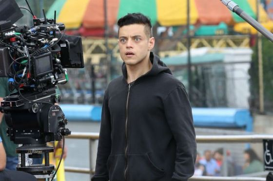 Rami Malek on the set of the second season of