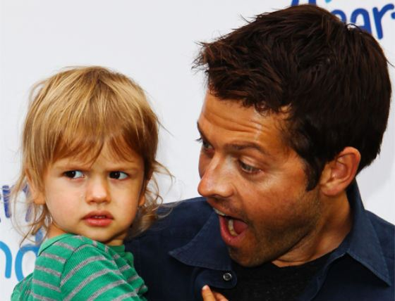 Misha Collins with his son
