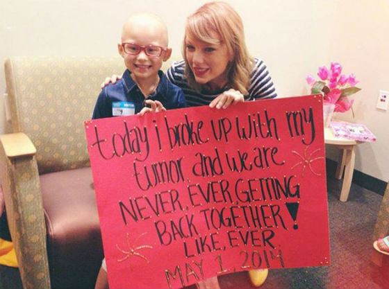Taylor Swift is engaged in charity and helps sick children