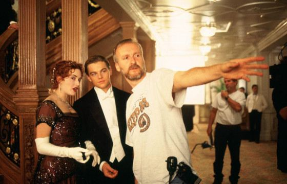 James Cameron, Leonardo DiCaprio, Kate Winslet on set