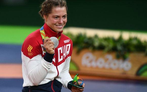 Valeria Koblova, who earned silver in freestyle wrestling among women
