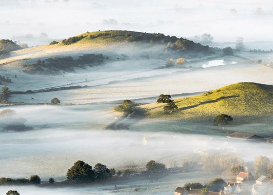 Туман в сельской местности на юго-западе Англии