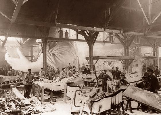 Строительство Статуи Свободы, 1884.