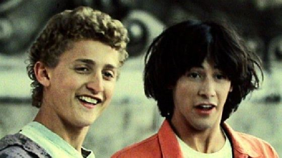 "Keanu Reeves in a comedy ""Bill & Ted's Excellent Adventure"""