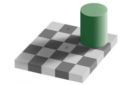 Квадраты A и B на самом деле одинакового цвета
