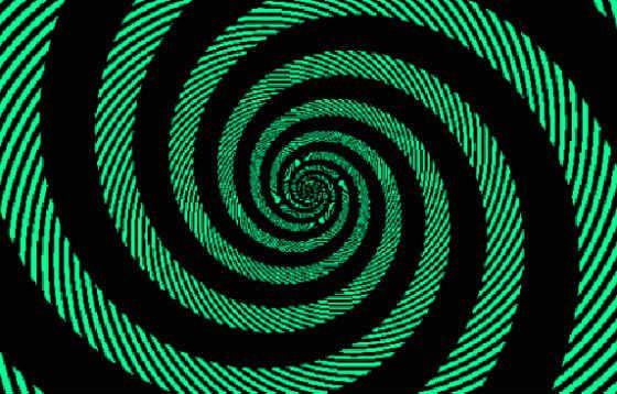 Без отвлекающего фона видно, что спираль полностью зеленая