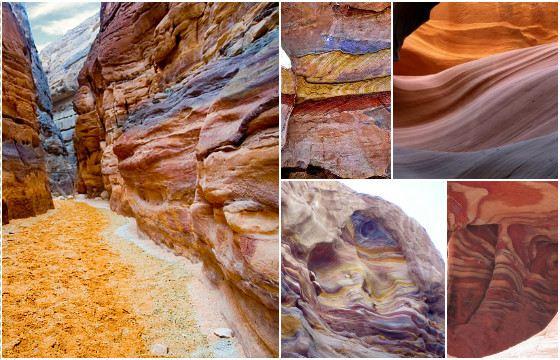 Скалы Цветного каньона из разноцветного песчаника (от белого до ярко-красного)