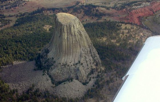View of the Devil's Tower from the plane