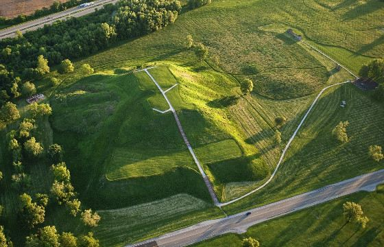 View of the mound of Cahokia from an airplane