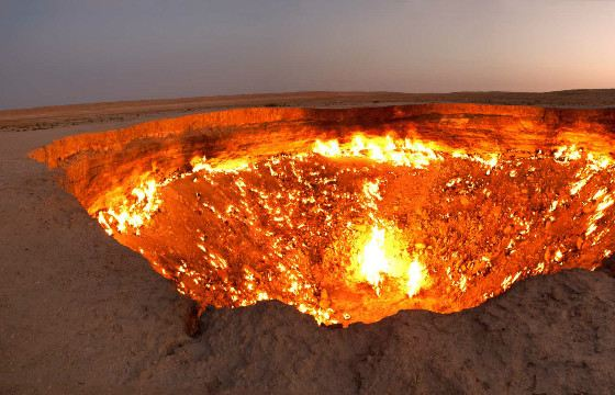 The Darwaza crater swallowed the soviet oil rig