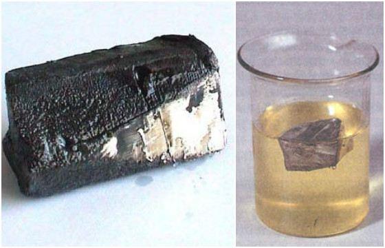 Литий - мягкий металл, легко режется ножом