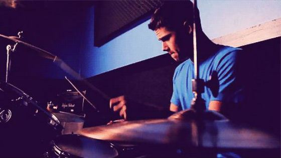 Dylan O'Brien plays drums