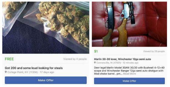 На Facebook попытались торговать наркотиками и оружием