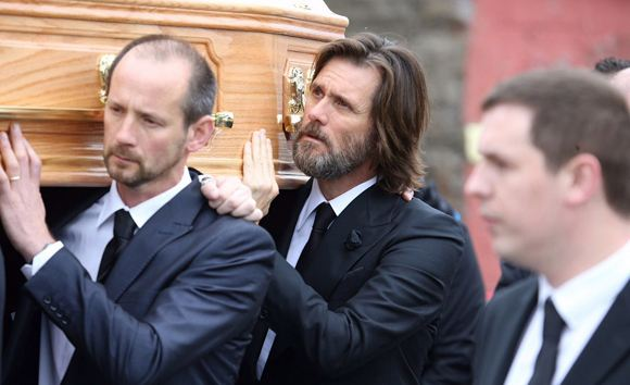 Jim Carrey at the funeral of his beloved