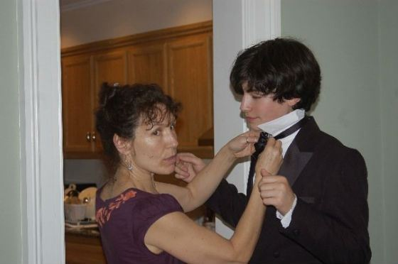 The photo shows young Ezra Miller and his mother