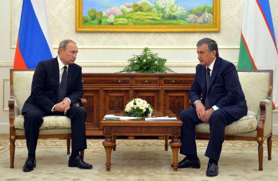 In the photo: Shavkat Mirziyayev and Vladimir Putin