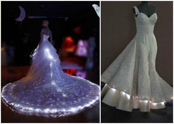 Свадебное платье с подсветкой  выглядит оригинально