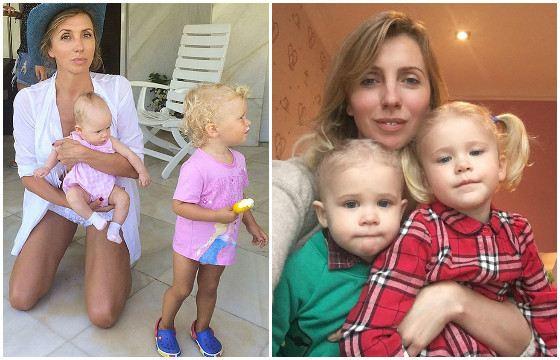 Svetlana Bondarchuk with her granddaughters Margot and Vera