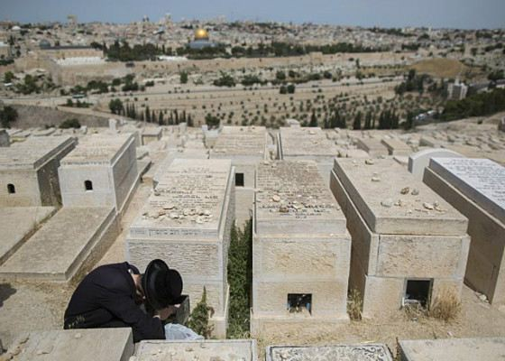 At a cemetery on Maslyanichnaya Hill, notes collected from the Wailing Wall are buried.