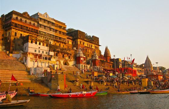 To the waters of the Ganges down the ghats - ladders for washing
