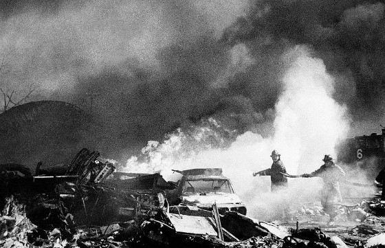 Пожар после авиакатастрофы в Чикаго